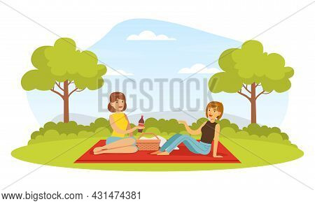 Female Friends On Bbq Picnic Eating Outdoors Sitting On Blanket With Hamper Vector Illustration