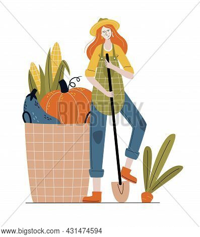 Farmer Woman In Modern Style.  Buy Fresh Organic Products From The Local Farmer's Market. Eat Local