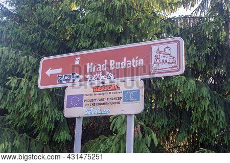 Zilina, Slovakia - June 5, 2021: Direct Sign To Budatin Castle (hrad Budatin).