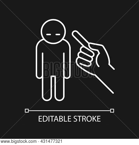 Punishment Gesture White Linear Icon For Dark Theme. Respond To Child Bad Behavior. Kid Misbehavior.
