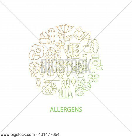 Common Allergens Abstract Gradient Linear Concept Layout With Headline. Allergy Reaction Reasons Min