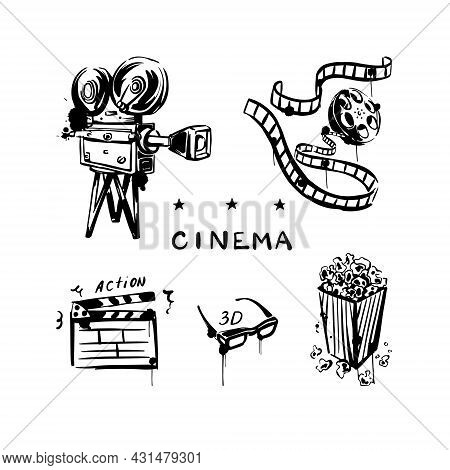 Vintage Movie Set With Camera, Reel, Popcorn, 3d Glasses. Cinema. A Hand-drawn Sketch On A White Iso