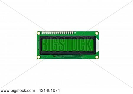 Single Liquid Crystal Display Or Lcd On White Background. View From Above