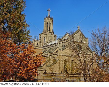 Cathedral Of The Sacred Heart Of Jesus, Known As Polish Church. Temple Build In Beginning Of Previou