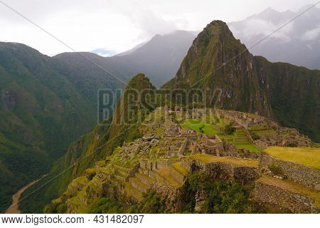 Panoramic View To Machu Picchu Archaeological Site With Polygonal Masonry In Cuzco, Peru