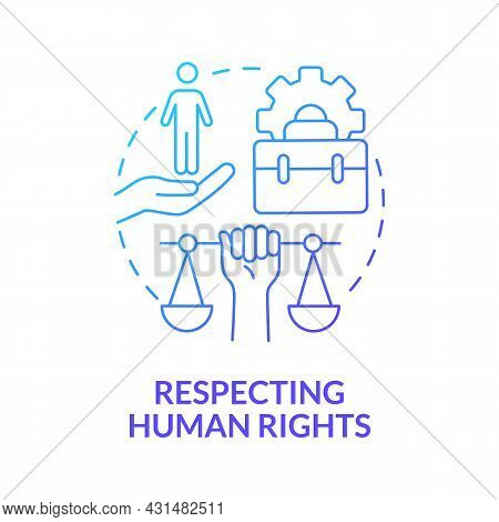 Respecting Human Rights Blue Gradient Concept Icon. Corporate Social Responsibility Abstract Idea Th