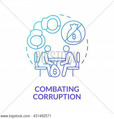 Combating Corruption Blue Gradient Concept Icon. Avoid Bribery And Money Extortion Abstract Idea Thi
