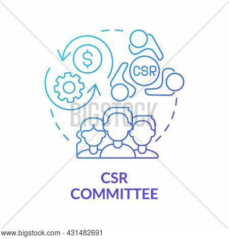 Csr Committee Blue Gradient Concept Icon. Board Of Directors Abstract Idea Thin Line Illustration. C