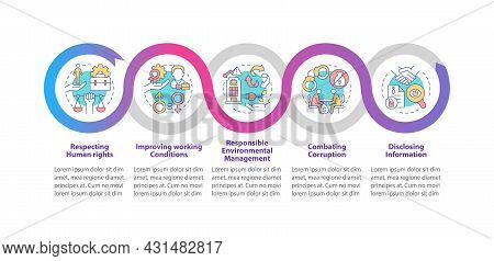 Csr Issues Vector Infographic Template. Workplace Conditions Presentation Outline Design Elements. D