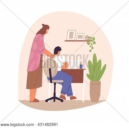 Parent Supporting Child In Doing Homework And Studying. Mother Helping And Cheering School Kid For L