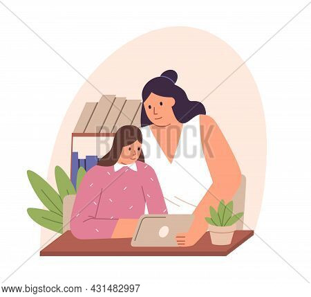 Parent And Child Sitting At Desk With Tablet Pc, Studying Online Together. Mother And Kid Watching,