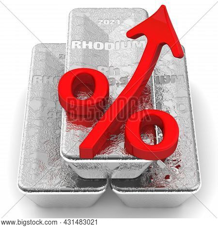 The Rise In The Value Of Rhodium. There Are Three Ingots Of 999.9 Fine Rhodium And One Red Percentag