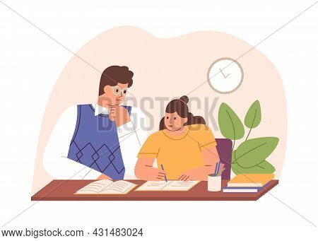 Parent Helping Child To Do Homework. Father And School Kid Sitting At Desk And Studying At Home Toge