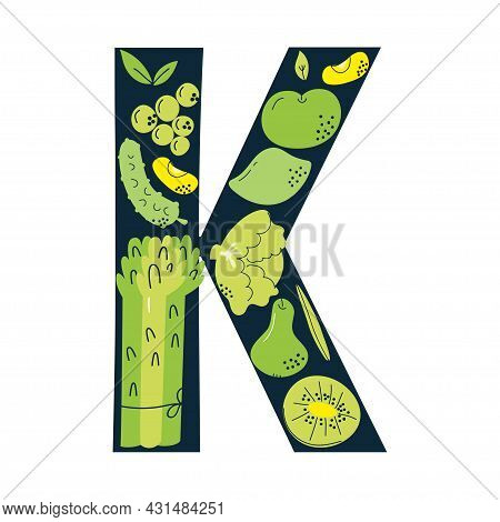 Vitamin K Main Food Sources Cabbage, Spinach, Asparagus, Avocado. Vector Illustration In A Hand-draw