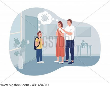 Anxious Parents And Their Son 2d Vector Isolated Illustration. Mom And Dad Worried About Coronavirus