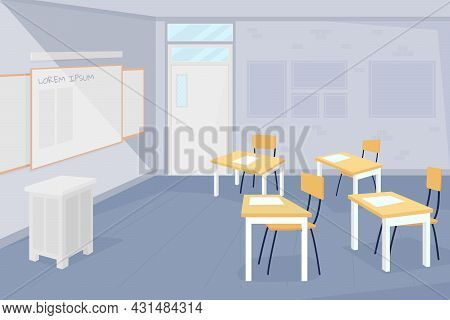 Empty Classroom Flat Color Vector Illustration. Coronavirus Lockdown And Quarantine. Distant Learnin