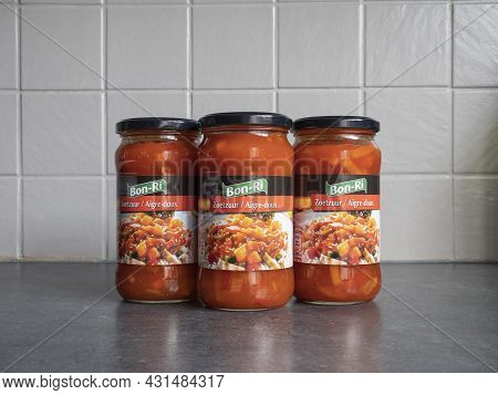 Sint Gillis Waas, Belgium, August 30, 2021, Three Glass Jars Of Sweet And Sour Sauce Of The Brand Bo