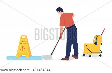 Janitor Mopping Floor Semi Flat Color Vector Character. School Cleaner Figure. Full Body Person On W