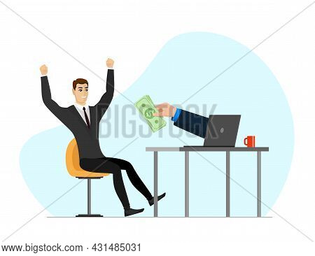 Successful Businessman Get Money From Laptop Screen. Online Income Commerce Business Man And Hand Wi