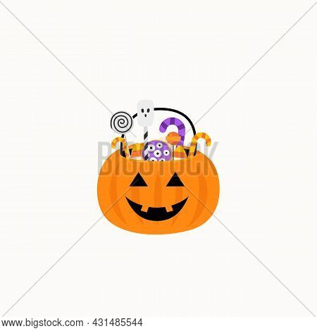 Halloween. Pumpkin Basket With Candies. Candy And Sweet Basket. Vector