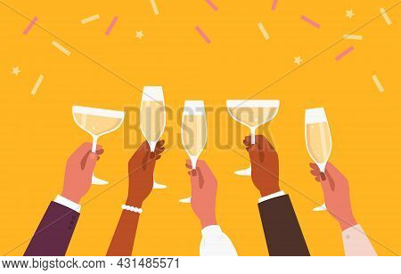Cocktail Party. Toast. Champagne Glasses. Cheers. Vector