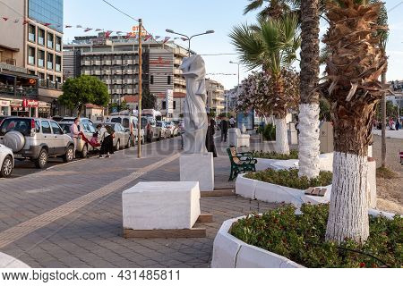 Kusadasi, Turkey - June 2, 2021: This Is A City Promenade With An Exhibition Of Contemporary Sculptu