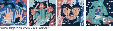 Ocd Behavioral Obsessive Compulsive, Hysteria And Bipolar Disorder Abstract Banner Set. Paranoia Sch