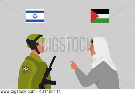 Israel And Palestine. Muslim Arabic Woman And Israeli Soldier. Conflict Israel-palestine. Vector