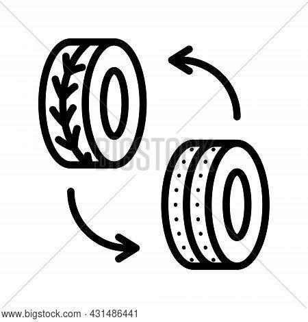 Automobile Wheel Changing Glyph Flat Line Icons. Seasonal Tyre Fitting. Simple Flat Vector Illustrat