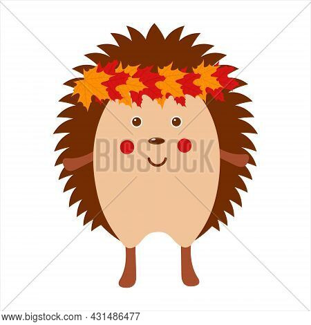 Cute Hedgehog With Autumn Leaves Wreath, Adorable Wild Animal, Funny Hedgehog, Isolated Flat Vector