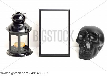 Mockup Photo Frame With Skull And Black Lantern With Candle. Empty Photo Frame Mockup For Showcasing