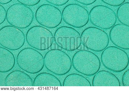 Green Kinetic Sand Texture For Children's Play And Sculpting With Oval Prints. Abstract Background