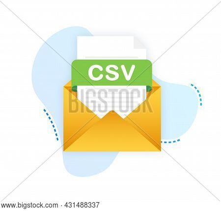 Download Csv Button On Laptop Screen. Downloading Document Concept. File With Csv Label And Down Arr