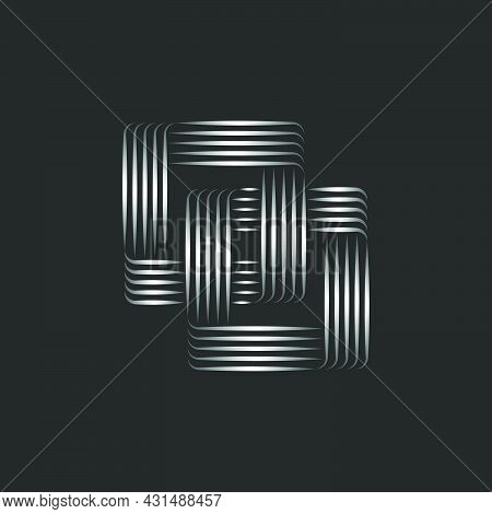 Two Squares Logo, Two Linked Rectangular Chain, Linear Creative Symbol Of Infinite Shape From Stripe