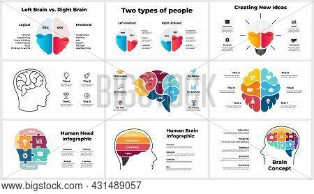 Creative Thinking Infographics. Presentation Slide Template. Human Head And Brain. Brainstorming, Ed