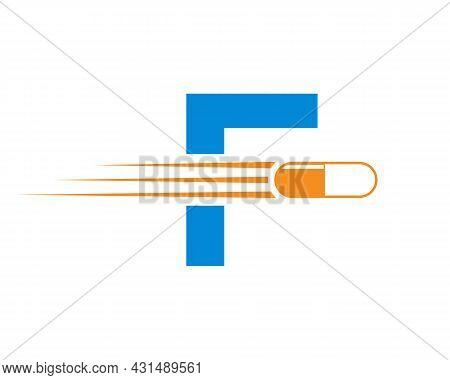 Medicine Logo With F Letter. F  Medicine Pill Or Tablet Logo Concept. Capsule Pharmacy Medical Logo