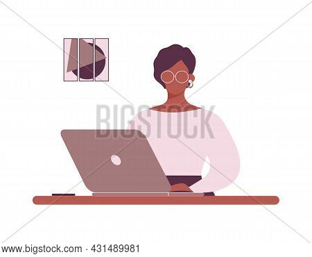 African-american Woman Tutor With Glasses Work On Laptop.remote Work,e-learning Or Online Training.a