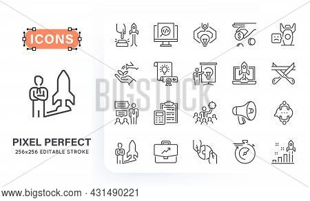 Set Of Start Up Related Line Icons. Contains Such Icons As Idea, Business Plan, Team, Production, Pr