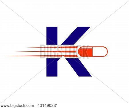 Medicine Logo With K Letter. K  Medicine Pill Or Tablet Logo Concept. Capsule Pharmacy Medical Logo