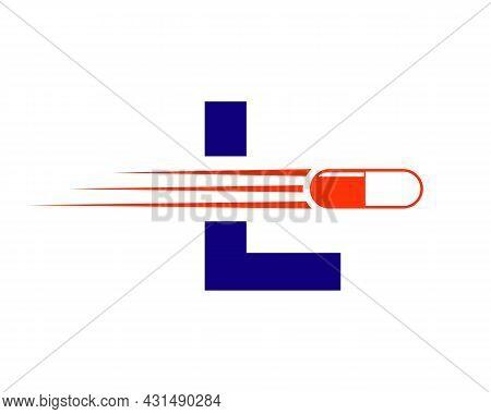 Medicine Logo With L Letter. L  Medicine Pill Or Tablet Logo Concept. Capsule Pharmacy Medical Logo