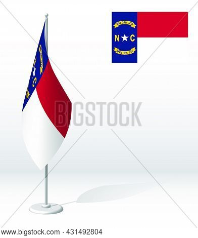 Flag Of American State Of North Carolina On Flagpole For Registration Of Solemn Event. Day Of State