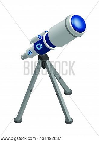 Isometric Telescope On Tripod For Observing Space, Stars And Planets Of Solar System. Space Explorat