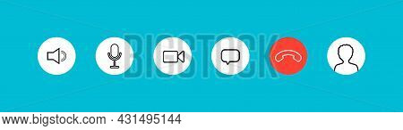 Video Call Icon. Button Of Chat, Mute, Microphone And Camera. Interface Icon For Online Conference,