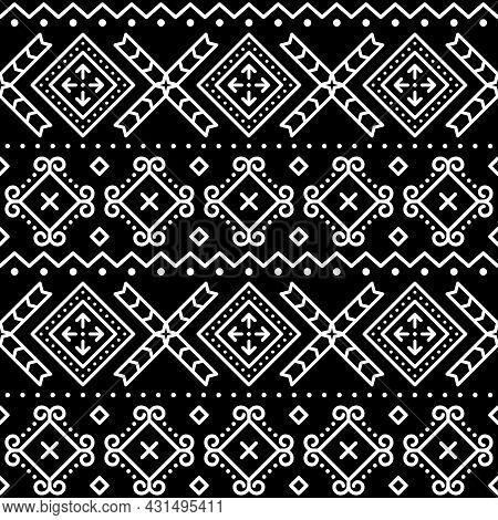 Slovak Tribal Style Folk Art Vector Seamless Geometric Pattern, Ethnic Ornament Inspired By Traditio