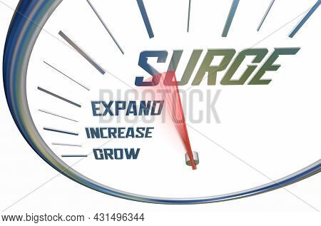 Surge Speedometer Increase Grow Expand Measure Boost 3d Illustration