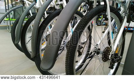 New Modern Bicycles And E-bikes In Supermarket. Sporting Goods And Equipment Store. Sport And Health