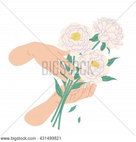 Female Hands Holding Bunch Of Blooming White Peony. Simple Woman Hands With Tender Flower Bouquet Is