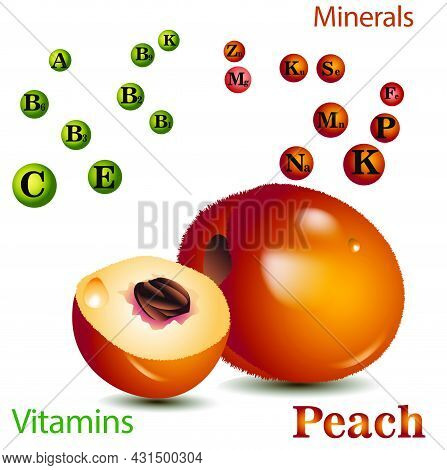 Peach Vitamins.vector Illustration With Useful Nutrition Facts. Peaches Are A Rich Source Of Vitamin