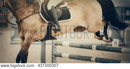 The Shod Hooves Of A Horse Over An Obstacle. The Horse Overcomes An Obstacle. The Leg Of The Rider I