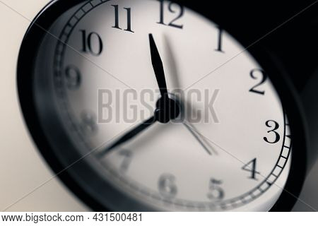 Soft Focus On Hour Clockwise At Half Pass Eleven O'clock Before Midnight Of Black And White Classic